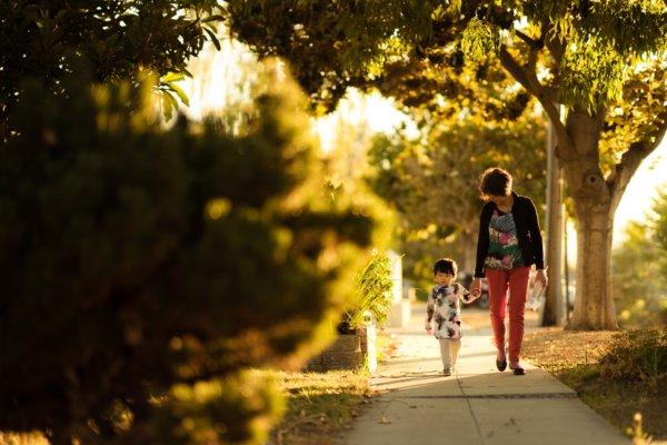 歩く親子の写真